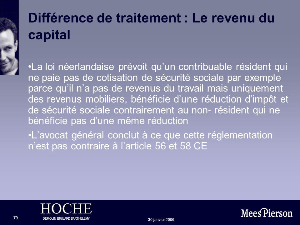 HOCHE DEMOLIN-BRULARD-BARTHELEMY 30 janvier 2006 79 Différence de traitement : Le revenu du capital La loi néerlandaise prévoit quun contribuable rési