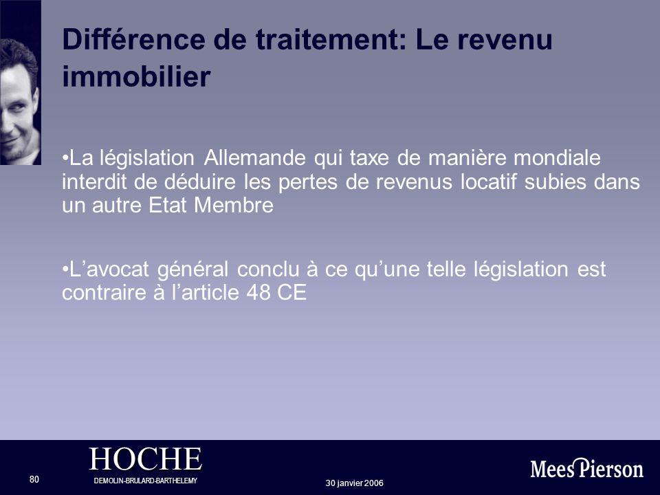 HOCHE DEMOLIN-BRULARD-BARTHELEMY 30 janvier 2006 80 Différence de traitement: Le revenu immobilier La législation Allemande qui taxe de manière mondia