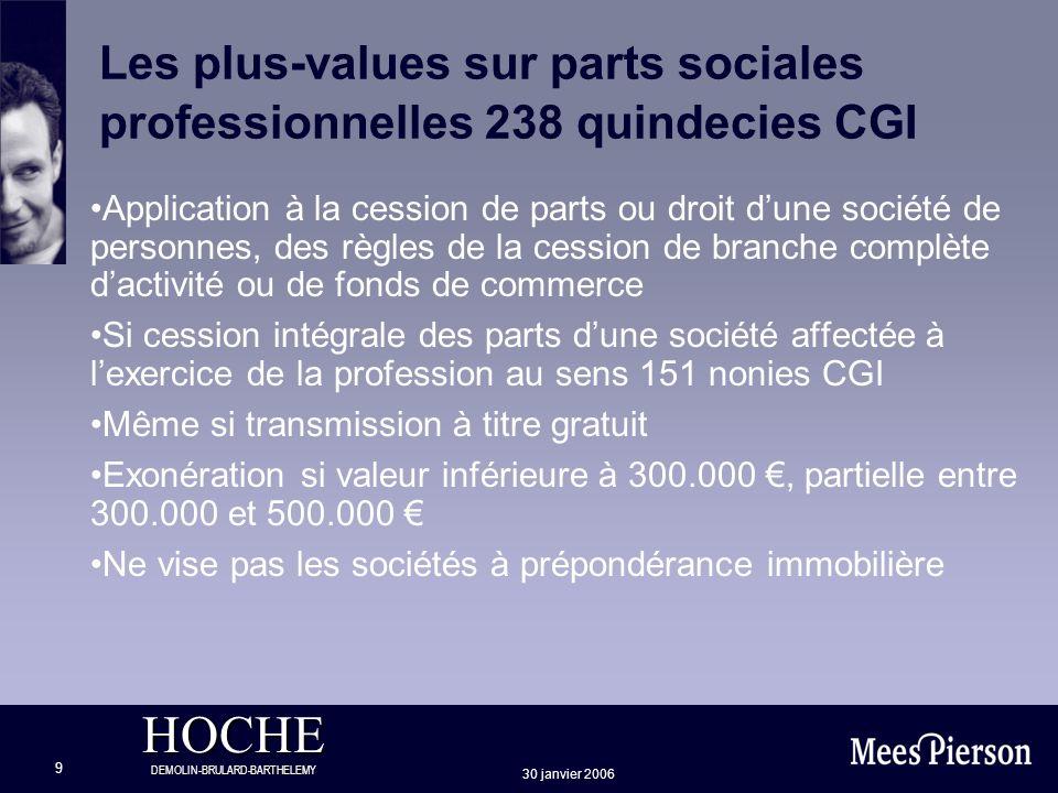 HOCHE DEMOLIN-BRULARD-BARTHELEMY 30 janvier 2006 9 Les plus-values sur parts sociales professionnelles 238 quindecies CGI Application à la cession de