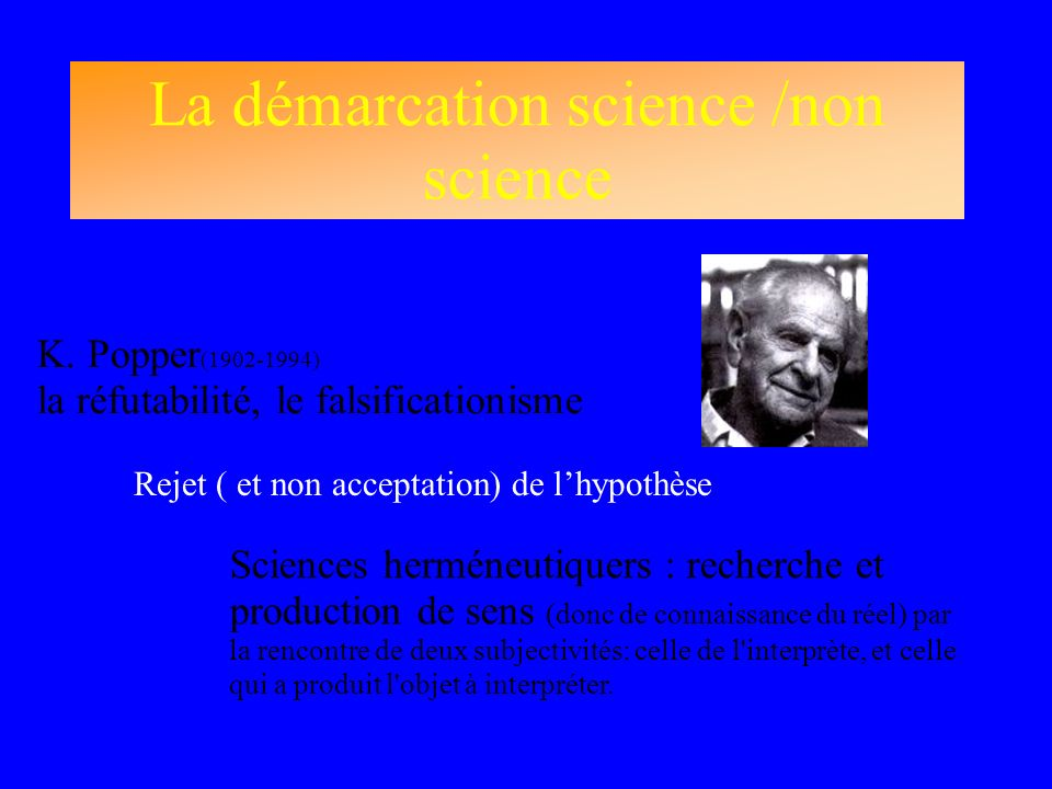 La démarcation science /non science K. Popper (1902-1994) la réfutabilité, le falsificationisme Sciences herméneutiquers : recherche et production de