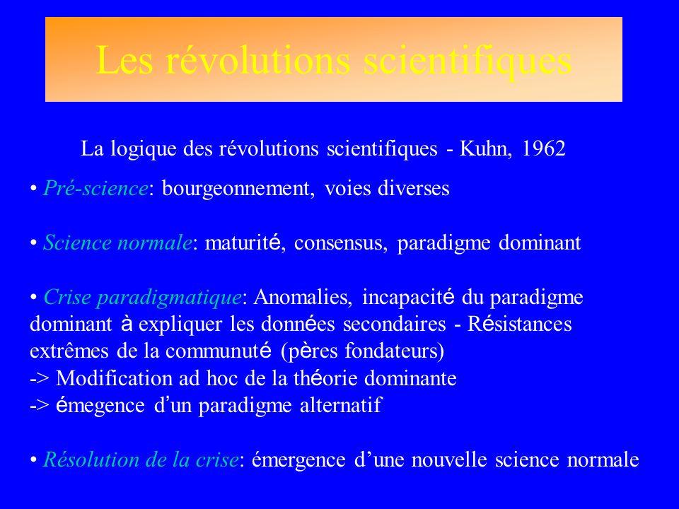 Les révolutions scientifiques La logique des révolutions scientifiques - Kuhn, 1962 Pré-science: bourgeonnement, voies diverses Science normale: matur