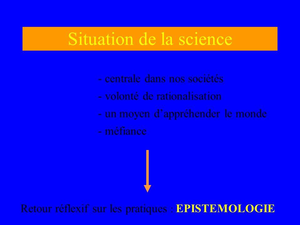 Situation de la science Retour réflexif sur les pratiques : EPISTEMOLOGIE - centrale dans nos sociétés - volonté de rationalisation - un moyen dappréh