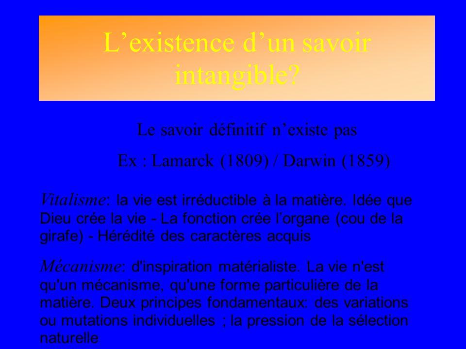 Lexistence dun savoir intangible? Le savoir définitif nexiste pas Ex : Lamarck (1809) / Darwin (1859) Vitalisme: la vie est irréductible à la matière.