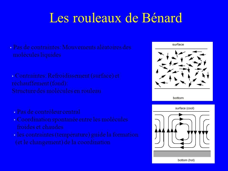 Les rouleaux de Bénard Pas de contraintes: Mouvements aléatoires des molécules liquides Contraintes: Refroidissement (surface) et réchauffement (fond)