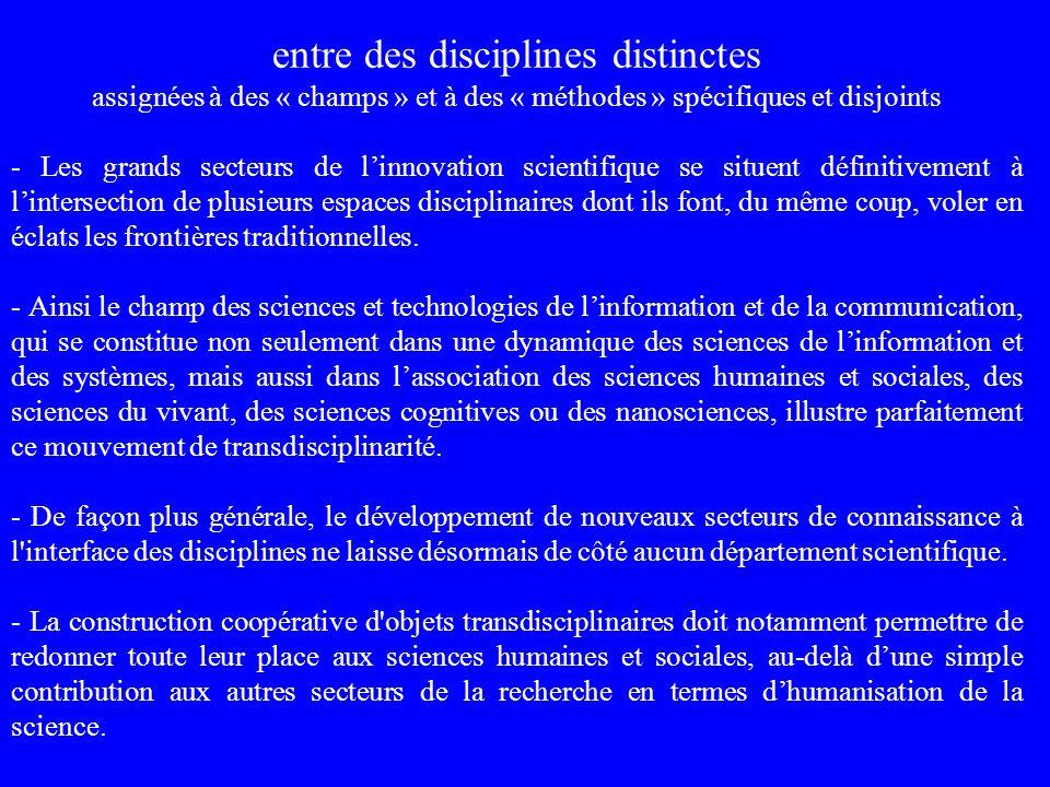 entre des disciplines distinctes assignées à des « champs » et à des « méthodes » spécifiques et disjoints - Les grands secteurs de linnovation scient