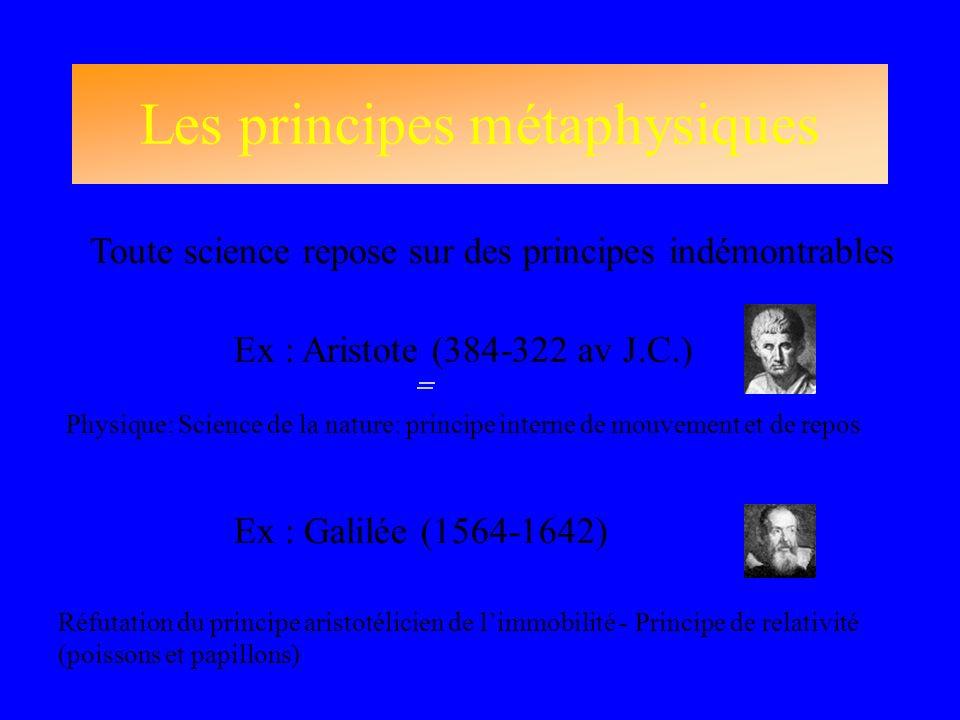 Les principes métaphysiques Toute science repose sur des principes indémontrables Ex : Aristote (384-322 av J.C.) Ex : Galilée (1564-1642) Physique: S