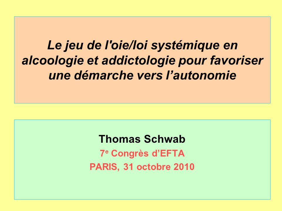 Le jeu de l'oie/loi systémique en alcoologie et addictologie pour favoriser une démarche vers lautonomie Thomas Schwab 7 e Congrès dEFTA PARIS, 31 oct