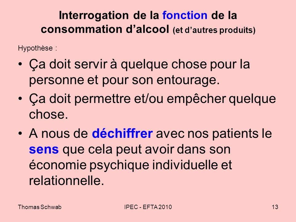 Thomas SchwabIPEC - EFTA 201013 Interrogation de la fonction de la consommation dalcool (et dautres produits) Hypothèse : Ça doit servir à quelque cho