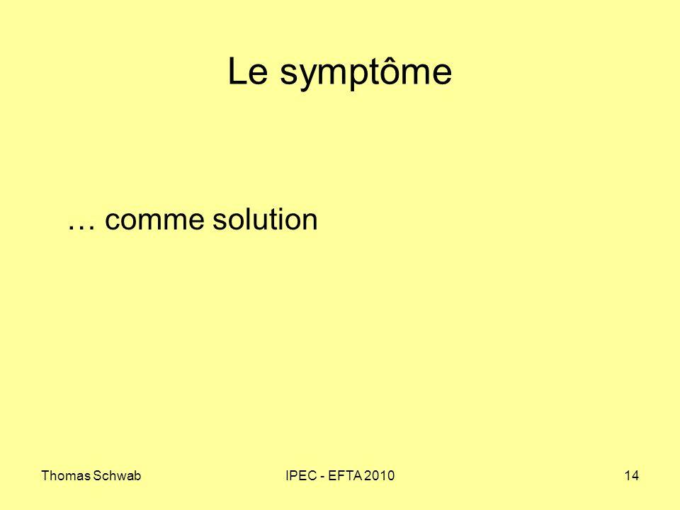 Thomas SchwabIPEC - EFTA 201014 Le symptôme … comme solution