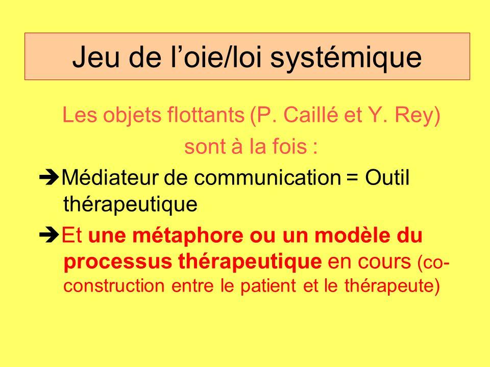 Jeu de loie/loi systémique Les objets flottants (P. Caillé et Y. Rey) sont à la fois : Médiateur de communication = Outil thérapeutique Et une métapho