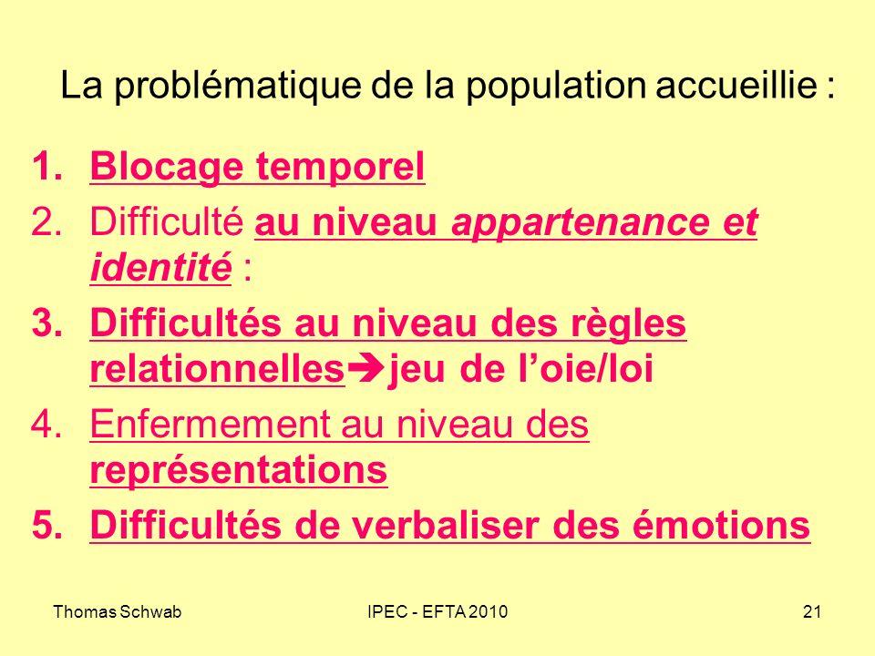 Thomas SchwabIPEC - EFTA 201021 La problématique de la population accueillie : 1.Blocage temporel 2.Difficulté au niveau appartenance et identité : 3.