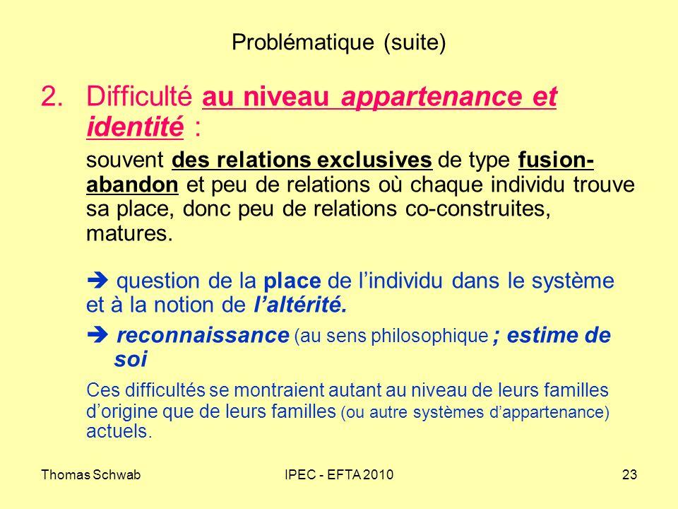 Thomas SchwabIPEC - EFTA 201023 Problématique (suite) 2.Difficulté au niveau appartenance et identité : souvent des relations exclusives de type fusio