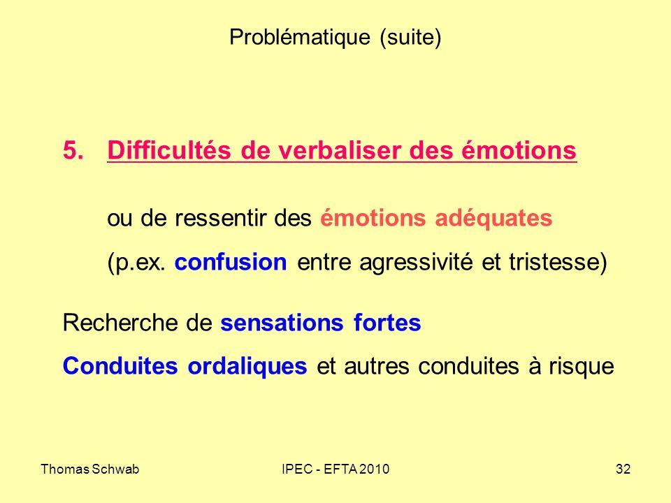 Thomas SchwabIPEC - EFTA 201032 Problématique (suite) 5.Difficultés de verbaliser des émotions ou de ressentir des émotions adéquates (p.ex. confusion