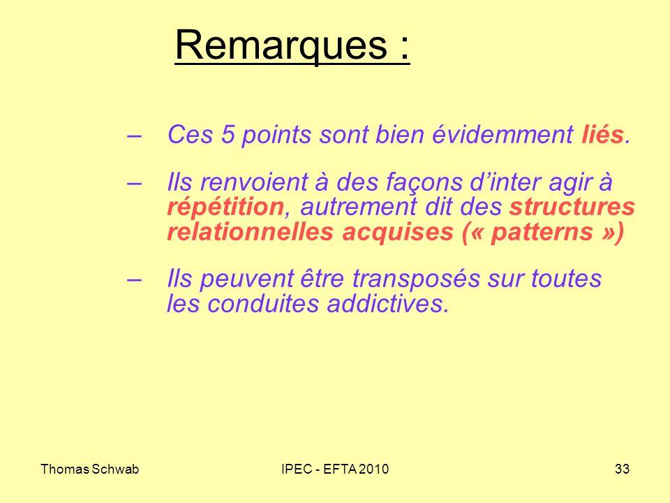 Thomas SchwabIPEC - EFTA 201033 Remarques : –Ces 5 points sont bien évidemment liés. –Ils renvoient à des façons dinter agir à répétition, autrement d