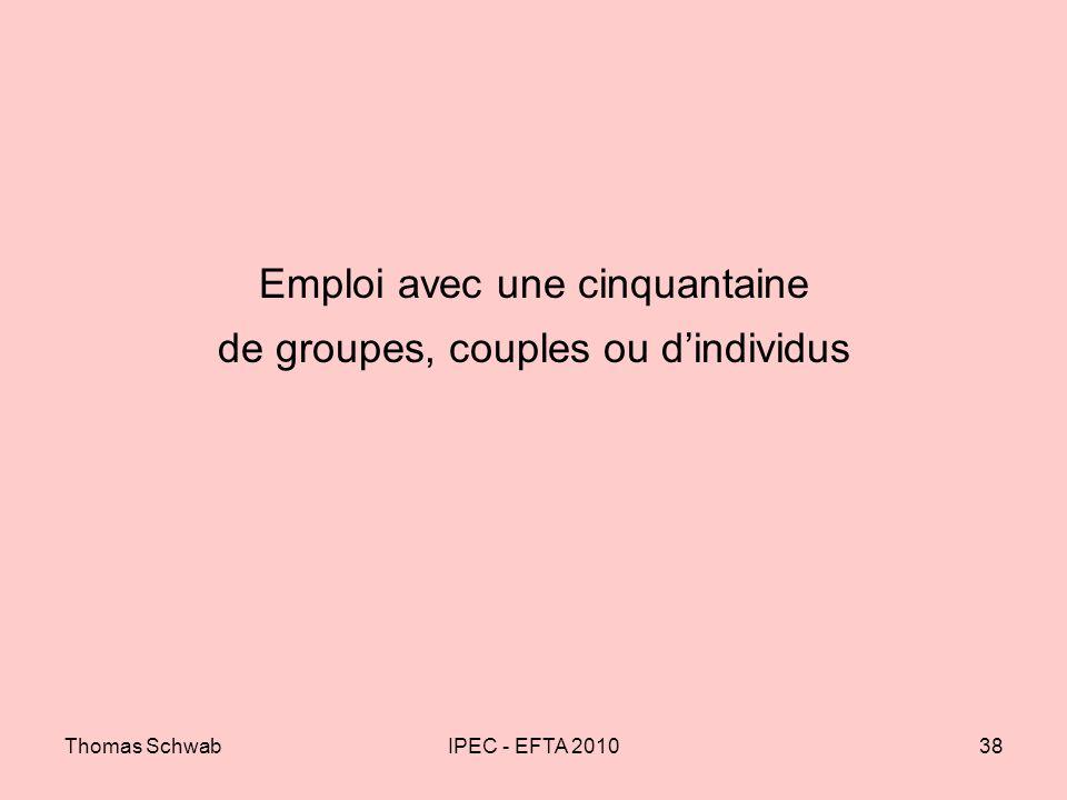 Thomas SchwabIPEC - EFTA 201038 Emploi avec une cinquantaine de groupes, couples ou dindividus