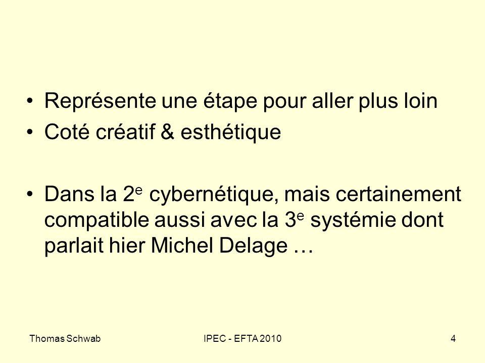 Thomas SchwabIPEC - EFTA 20104 Représente une étape pour aller plus loin Coté créatif & esthétique Dans la 2 e cybernétique, mais certainement compati