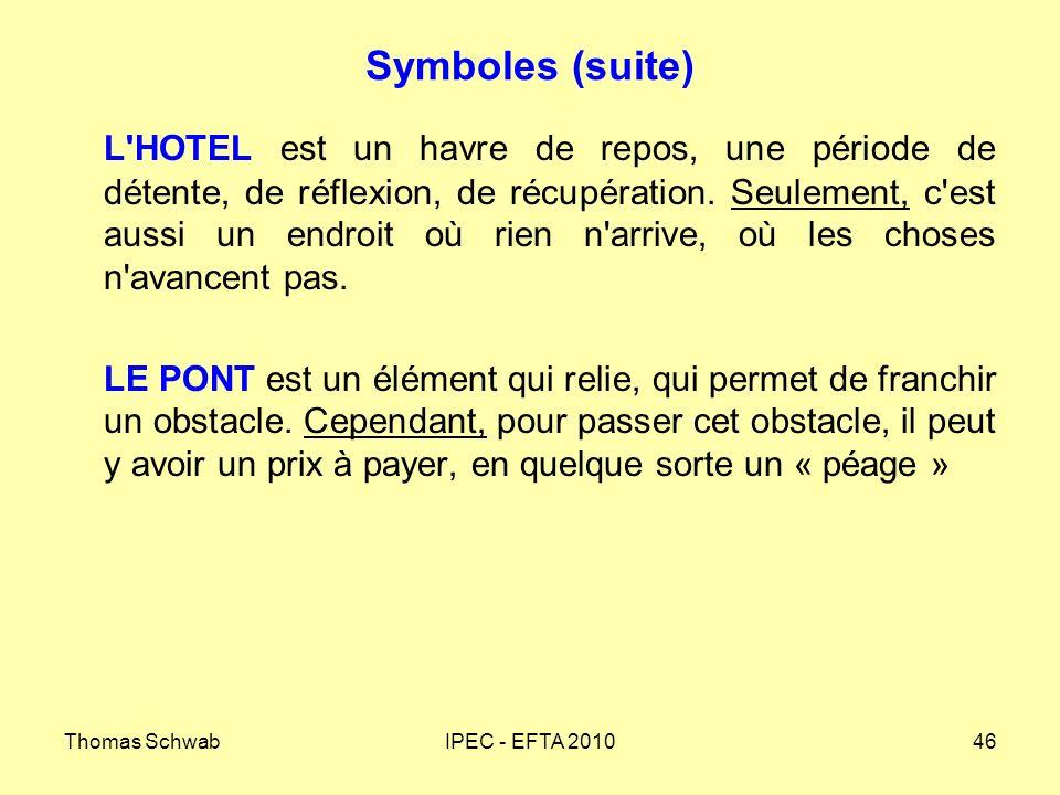 Thomas SchwabIPEC - EFTA 201046 Symboles (suite) L'HOTEL est un havre de repos, une période de détente, de réflexion, de récupération. Seulement, c'es