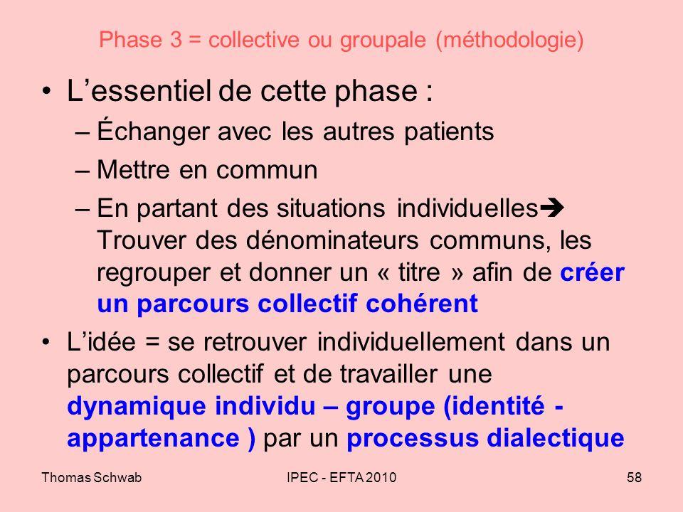 Thomas SchwabIPEC - EFTA 201058 Phase 3 = collective ou groupale (méthodologie) Lessentiel de cette phase : –Échanger avec les autres patients –Mettre