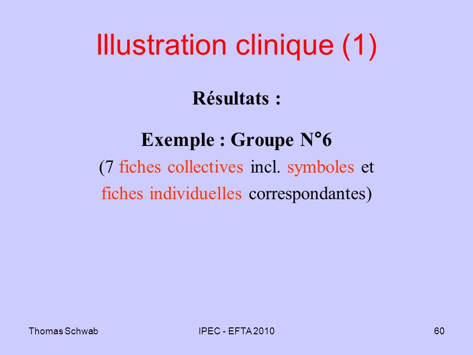 Thomas SchwabIPEC - EFTA 201060 Illustration clinique (1) Résultats : Exemple : Groupe N°6 (7 fiches collectives incl. symboles et fiches individuelle