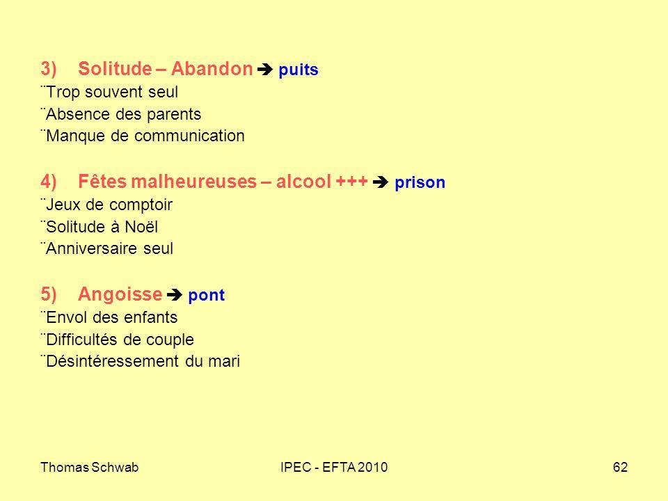 Thomas SchwabIPEC - EFTA 201062 3) Solitude – Abandon puits Trop souvent seul Absence des parents Manque de communication 4) Fêtes malheureuses – alco