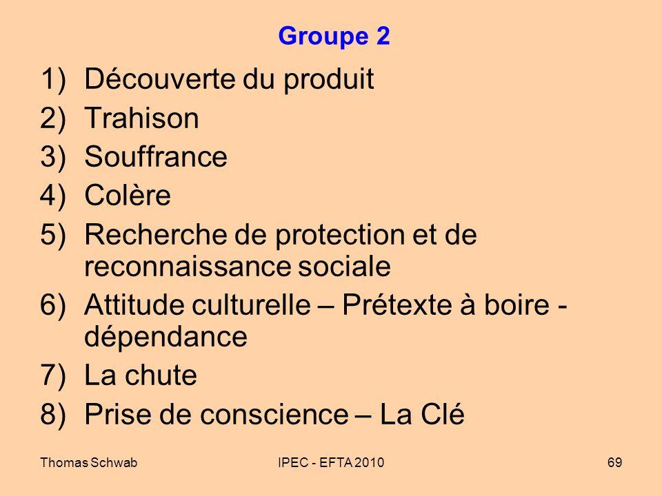 Thomas SchwabIPEC - EFTA 201069 Groupe 2 1)Découverte du produit 2)Trahison 3)Souffrance 4)Colère 5)Recherche de protection et de reconnaissance socia