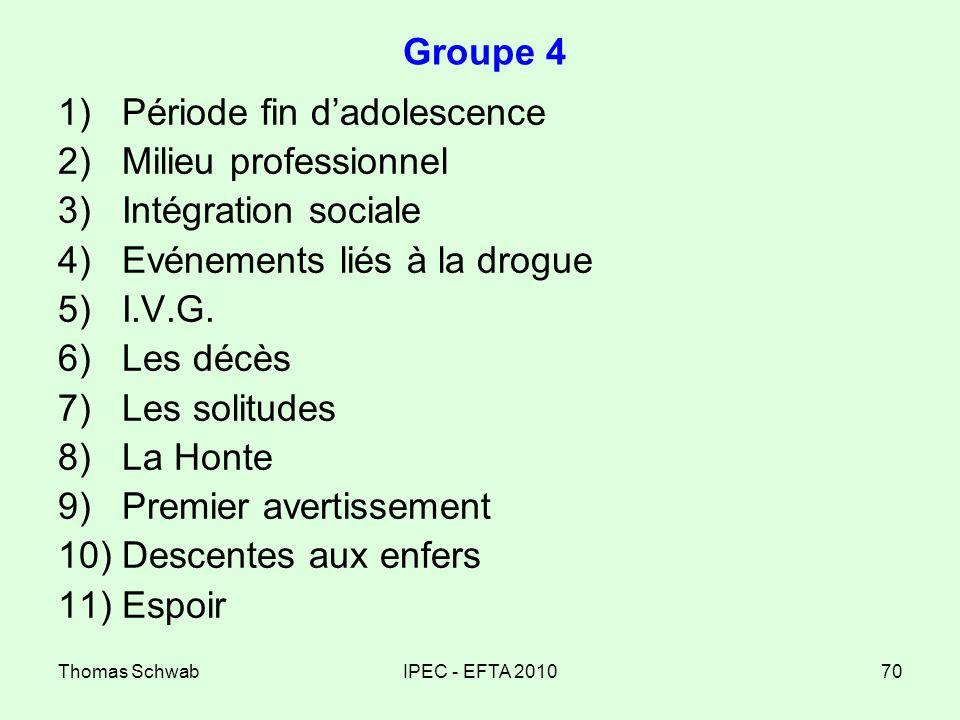Thomas SchwabIPEC - EFTA 201070 Groupe 4 1)Période fin dadolescence 2)Milieu professionnel 3)Intégration sociale 4)Evénements liés à la drogue 5)I.V.G