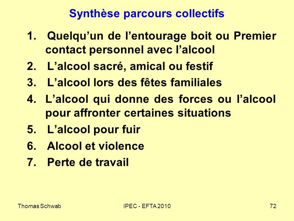 Thomas SchwabIPEC - EFTA 201072 Synthèse parcours collectifs 1.Quelquun de lentourage boit ou Premier contact personnel avec lalcool 2.Lalcool sacré,