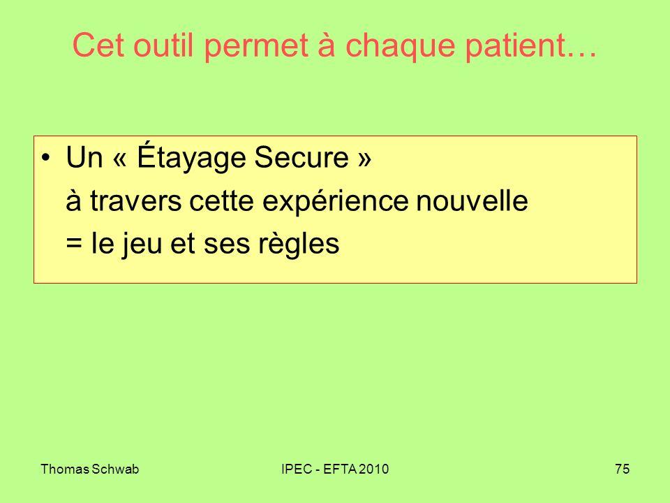 Thomas SchwabIPEC - EFTA 201075 Cet outil permet à chaque patient… Un « Étayage Secure » à travers cette expérience nouvelle = le jeu et ses règles