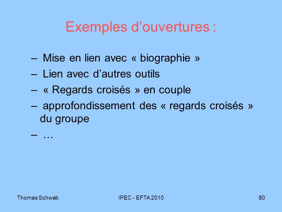 Thomas SchwabIPEC - EFTA 201080 Exemples douvertures : – Mise en lien avec « biographie » – Lien avec dautres outils – « Regards croisés » en couple –