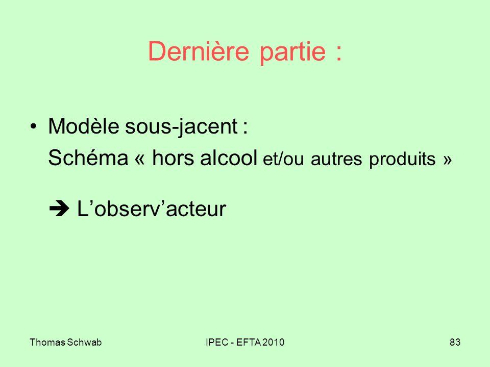 Thomas SchwabIPEC - EFTA 201083 Dernière partie : Modèle sous-jacent : Schéma « hors alcool et/ou autres produits » Lobservacteur