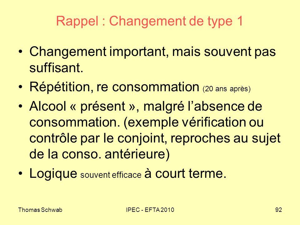 Thomas SchwabIPEC - EFTA 201092 Rappel : Changement de type 1 Changement important, mais souvent pas suffisant. Répétition, re consommation (20 ans ap