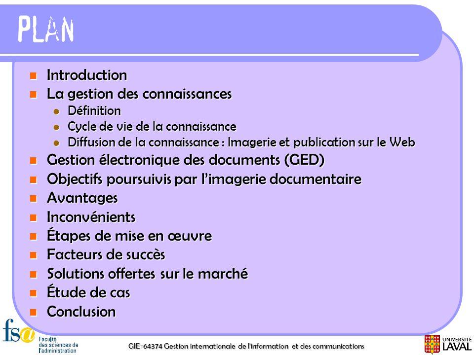 GIE-64374 Gestion internationale de l'information et des communications Plan Introduction Introduction La gestion des connaissances La gestion des con