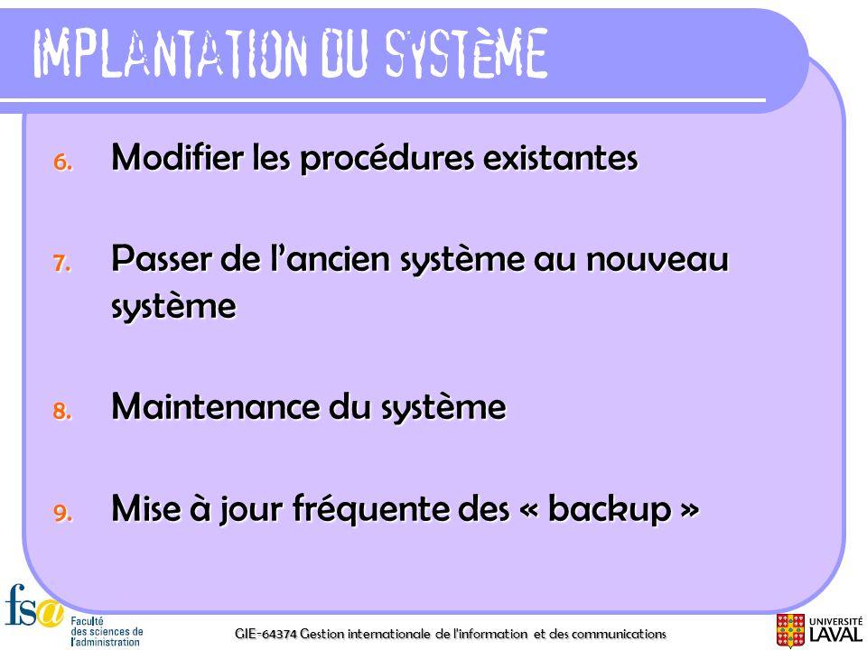 GIE-64374 Gestion internationale de l'information et des communications Implantation du système 6. Modifier les procédures existantes 7. Passer de lan