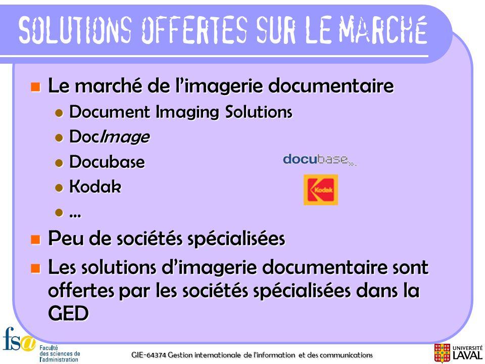 GIE-64374 Gestion internationale de l'information et des communications Solutions offertes sur le marché Le marché de limagerie documentaire Le marché