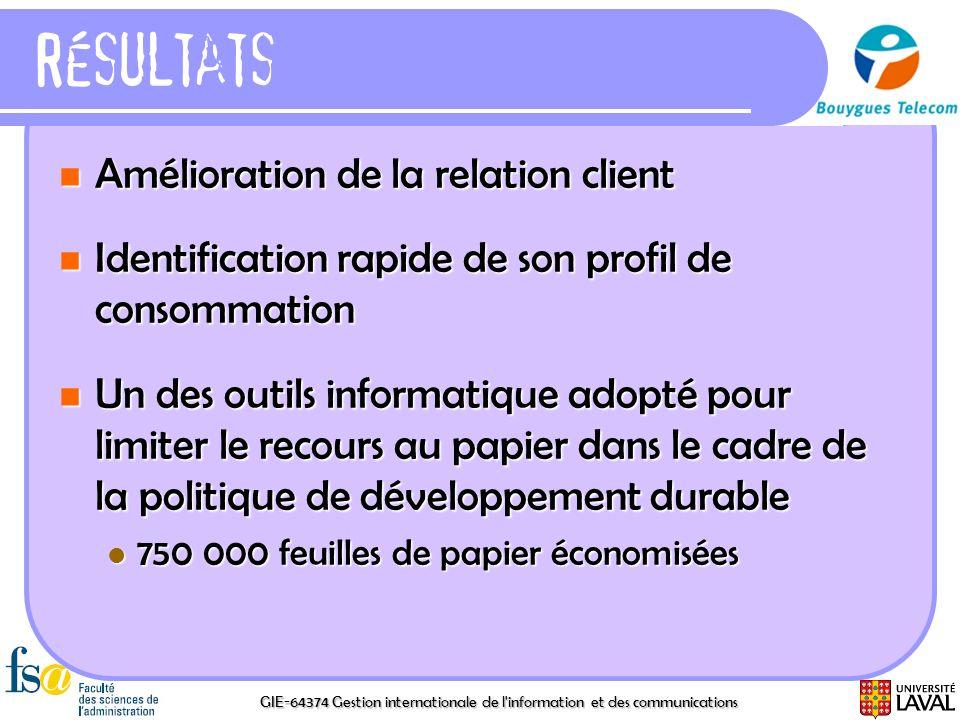GIE-64374 Gestion internationale de l'information et des communications Résultats Amélioration de la relation client Amélioration de la relation clien