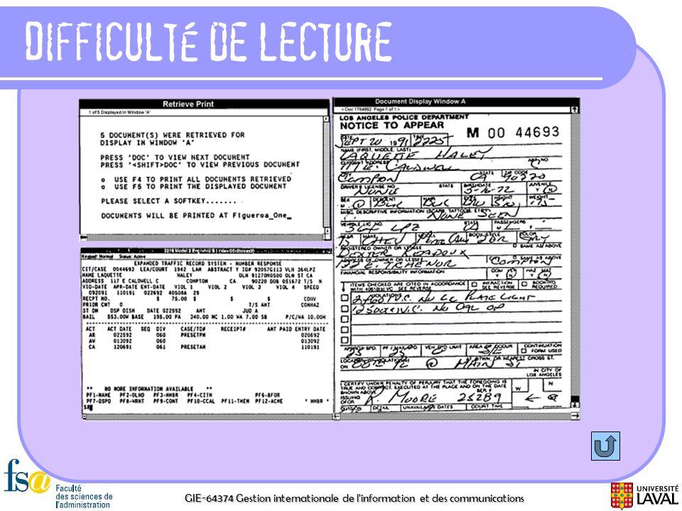 GIE-64374 Gestion internationale de l'information et des communications Difficulté de lecture