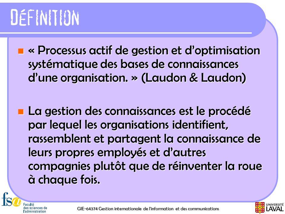 GIE-64374 Gestion internationale de l'information et des communications Définition « Processus actif de gestion et doptimisation systématique des base
