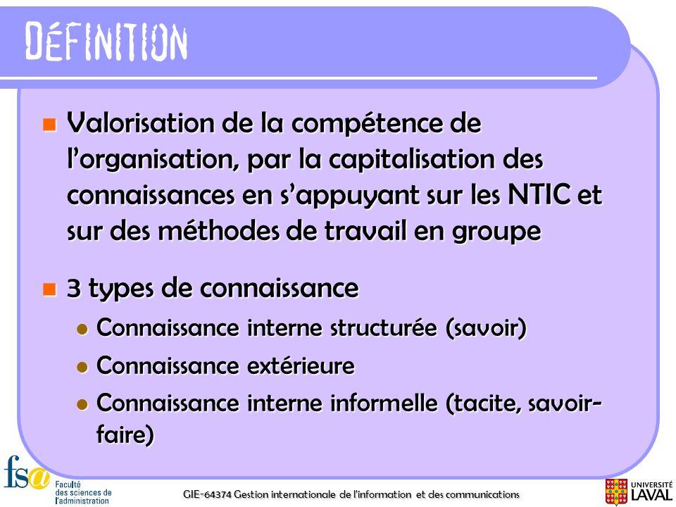 GIE-64374 Gestion internationale de l'information et des communications Définition Valorisation de la compétence de lorganisation, par la capitalisati