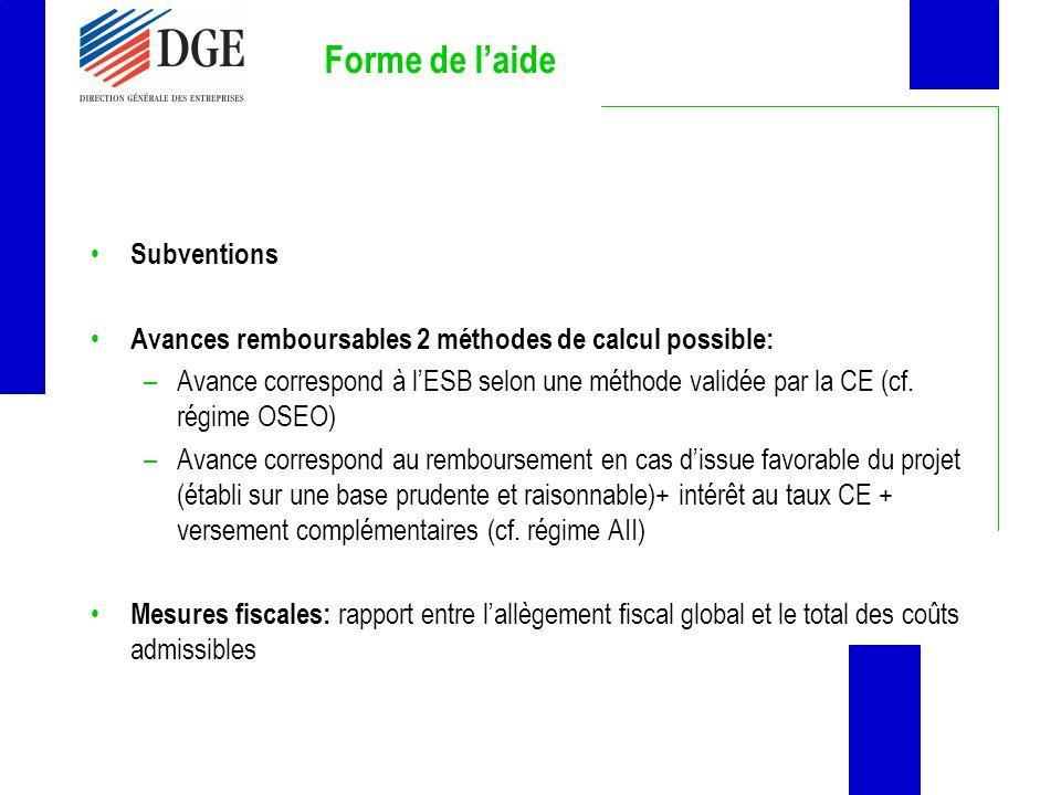 Forme de laide Subventions Avances remboursables 2 méthodes de calcul possible: –Avance correspond à lESB selon une méthode validée par la CE (cf. rég