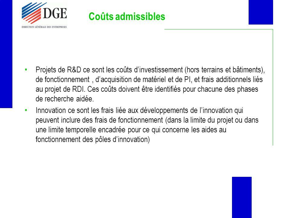 Coûts admissibles Projets de R&D ce sont les coûts dinvestissement (hors terrains et bâtiments), de fonctionnement, dacquisition de matériel et de PI,