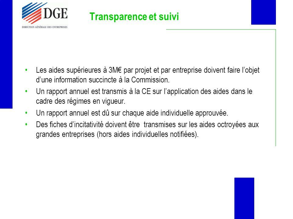 Transparence et suivi Les aides supérieures à 3M par projet et par entreprise doivent faire lobjet dune information succincte à la Commission. Un rapp