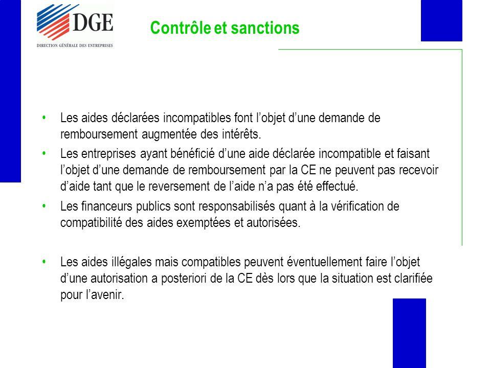 Contrôle et sanctions Les aides déclarées incompatibles font lobjet dune demande de remboursement augmentée des intérêts. Les entreprises ayant bénéfi