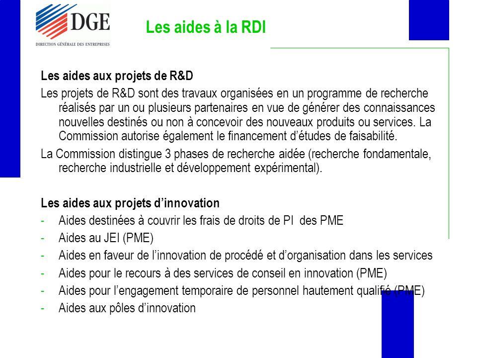 Les aides à la RDI Les aides aux projets de R&D Les projets de R&D sont des travaux organisées en un programme de recherche réalisés par un ou plusieu