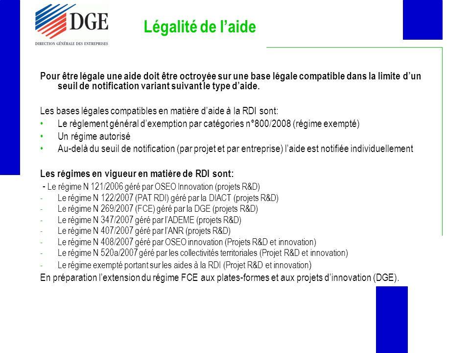 Légalité de laide Pour être légale une aide doit être octroyée sur une base légale compatible dans la limite dun seuil de notification variant suivant