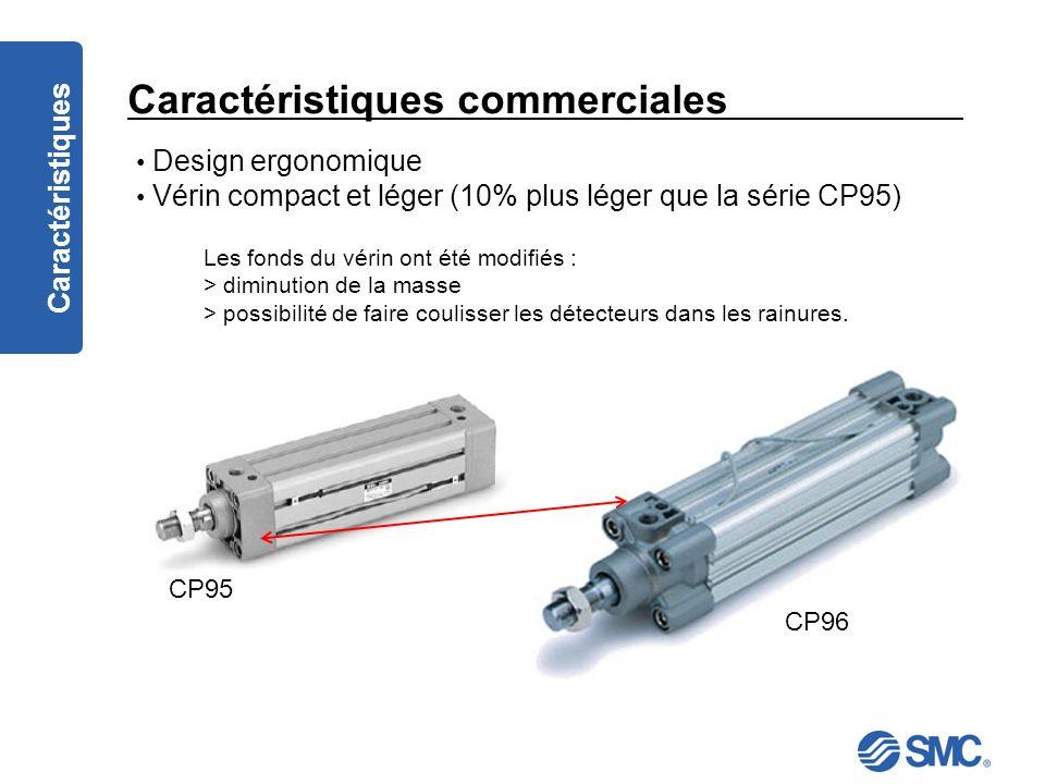 Caractéristiques commerciales Caractéristiques Design ergonomique Vérin compact et léger (10% plus léger que la série CP95) Les fonds du vérin ont été