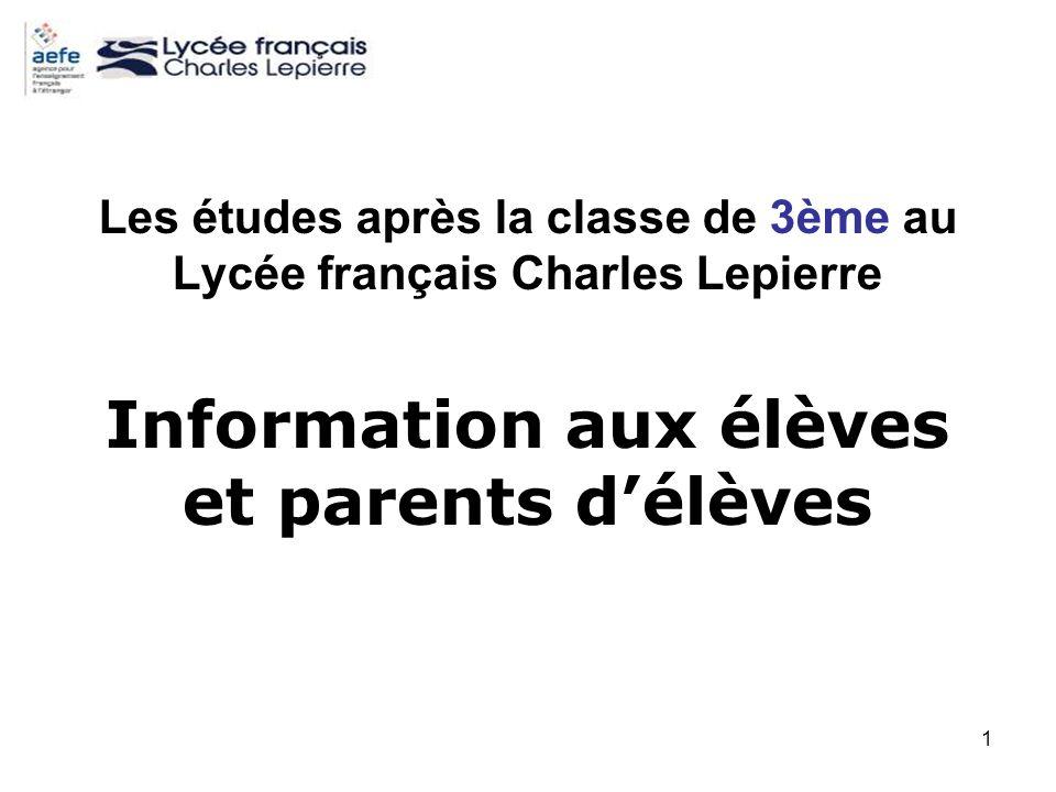 1 Les études après la classe de 3ème au Lycée français Charles Lepierre Information aux élèves et parents délèves