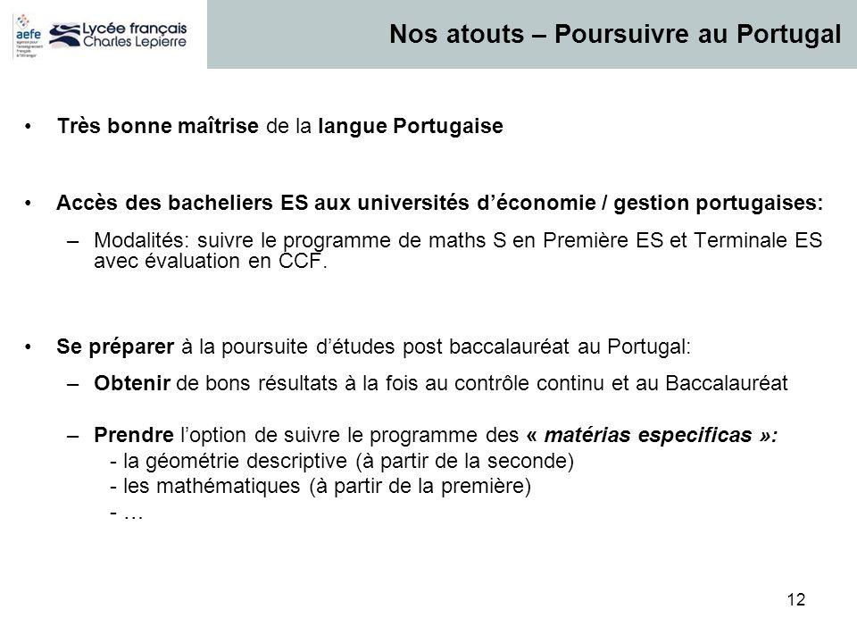 12 Très bonne maîtrise de la langue Portugaise Accès des bacheliers ES aux universités déconomie / gestion portugaises: –Modalités: suivre le programm
