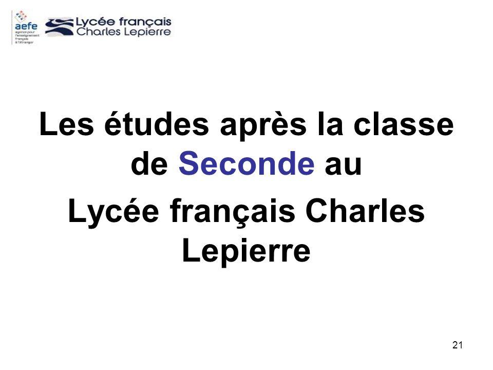 21 Les études après la classe de Seconde au Lycée français Charles Lepierre