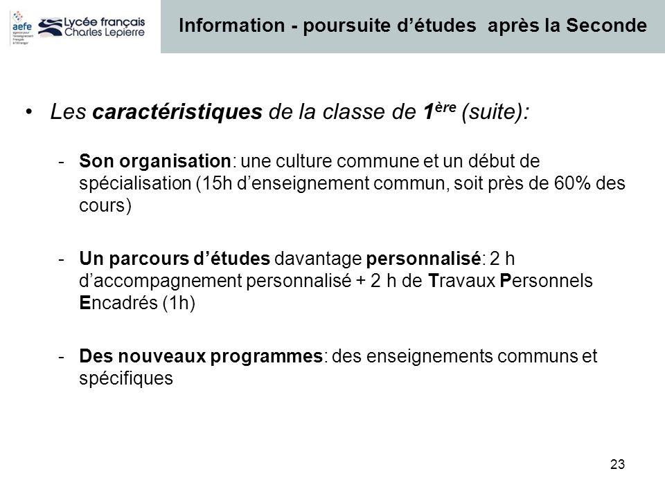 23 Les caractéristiques de la classe de 1 ère (suite): -Son organisation: une culture commune et un début de spécialisation (15h denseignement commun,