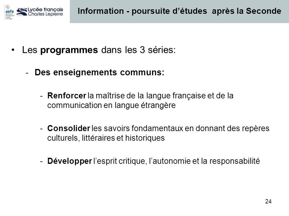 24 Les programmes dans les 3 séries: -Des enseignements communs: -Renforcer la maîtrise de la langue française et de la communication en langue étrang